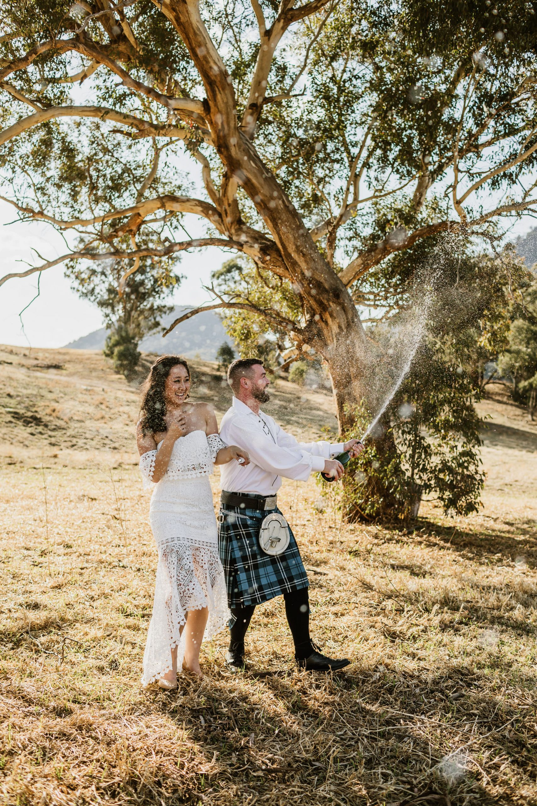 Elopement Champagne Spray wedding
